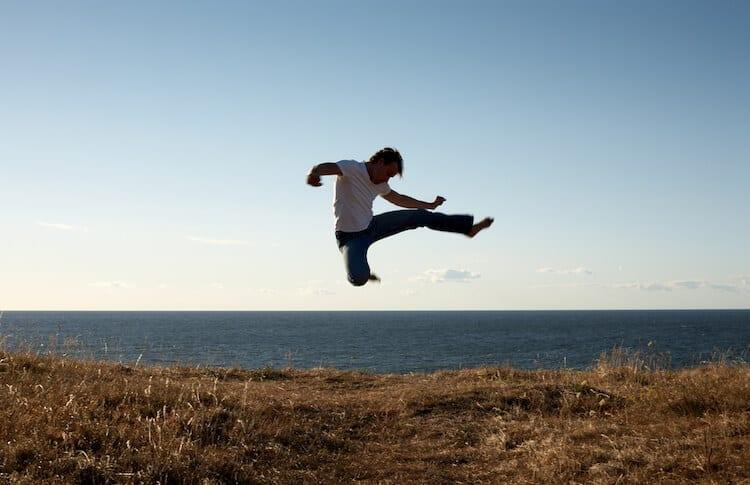 Man Performing Hapkido High Kick