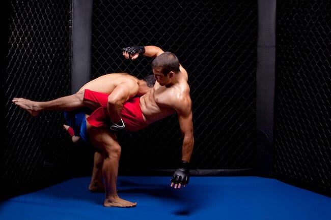 Two MMA Fighters in Cage