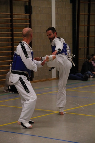 Two Taekwondo Fighters Sparring